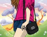 Dibujo Chica con bolso pintado por dianita12