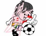 Chico jugando a fútbol