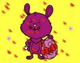 Conejo con regalo de Pascua