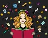 Dibujo Día del Libro pintado por queyla