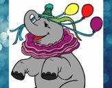 Dibujo Elefante con 3 globos pintado por marfor