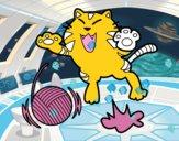 Dibujo Gato juguetón pintado por gatitos3