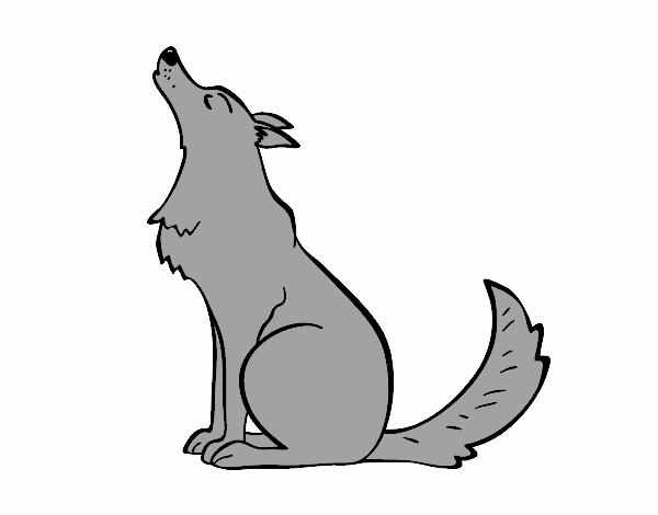 Dibujo de lobo aullando pintado por en el d a - Dibujos infantiles para imprimir pintados ...
