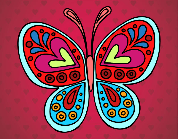 Dibujos De Corazones Coloridos: Dibujo De Mariposa De Colores Y Corazones Pintado Por En
