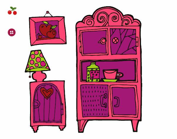 Dibujo de muebles de sal n pintado por en el for Muebles de la casa