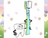 Dibujo Muela y cepillo de dientes pintado por karenivan