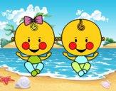 Niño y niña gemelos