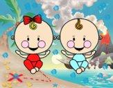 Dibujo Niño y niña gemelos pintado por karenivan