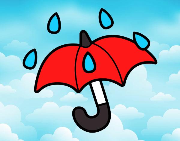 Dibujos De Paraguas Para Colorear E Imprimir: Dibujo De Lluvia En La Sombrilla Pintado Por Damelisl En