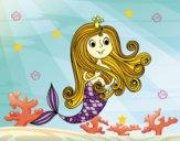 Dibujo Princesa sirena pintado por karenivan