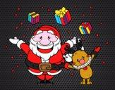 Dibujo Santa y reno con regalos pintado por marfor