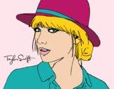 Dibujo Taylor Swift con sombrero pintado por queyla