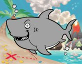 Dibujo Tiburón ballena pintado por gatitos3