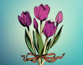 Dibujo Tulipanes con lazo pintado por blanca