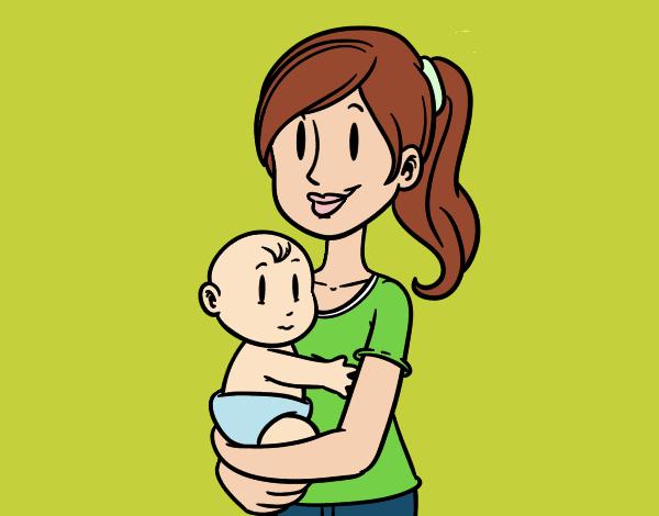 Dibujo de En brazos de mam pintado por en Dibujosnet el da 02