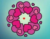 Dibujo Mandala de corazones pintado por queyla