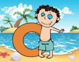 Niño con flotador