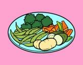 Dibujo Plato de verduras pintado por queyla