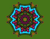 Dibujo Mandala flor simétrica pintado por blanca