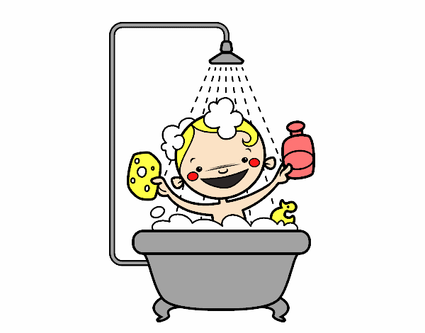 Dibujo de ni o en la ducha pintado por en el - Ninos en la banera ...
