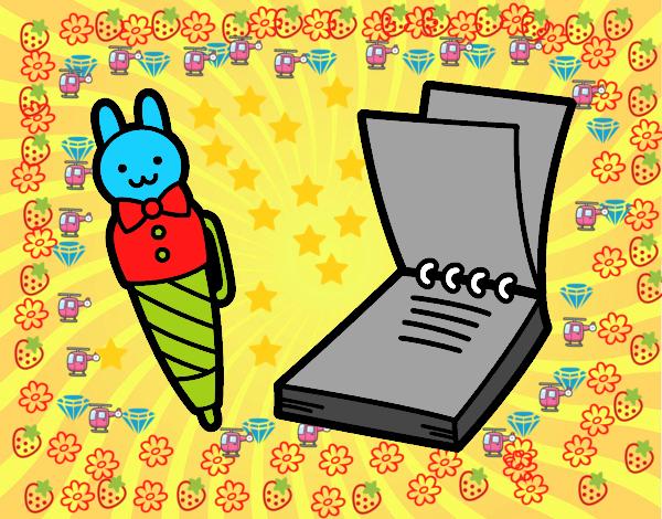 Dibujo Para Colorear Libreta: Dibujo De Bolígrafo Infantil Y Libreta Pintado Por En