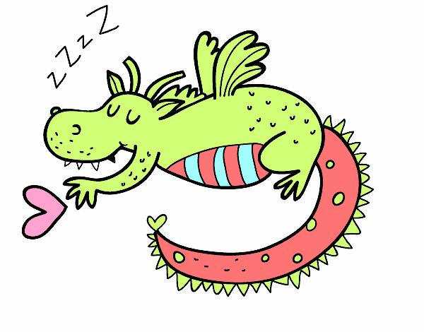 Dibujo de Dragn infantil durmiendo pintado por en Dibujosnet el