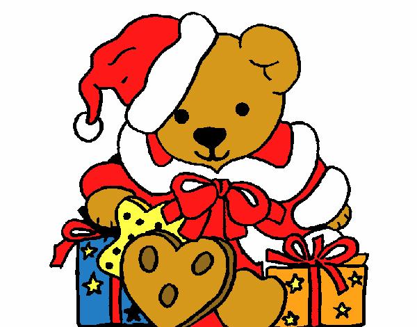 Dibujos De Navidad En Color: Dibujo De Osito Con Gorro Navideño Pintado Por Manuel13 En