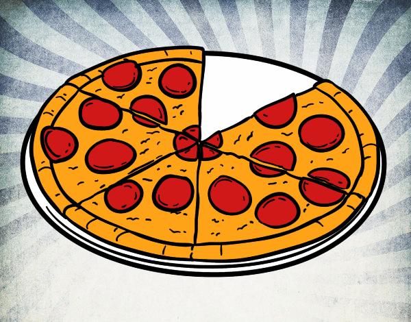 Dibujo de Pizza de pepperoni pintado por Iren2006 en Dibujosnet