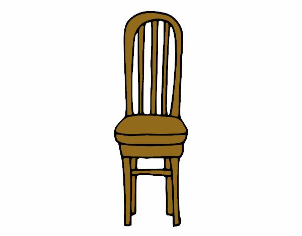 Dibujo de silla de madera pintado por en el for Sillas de madera para salon