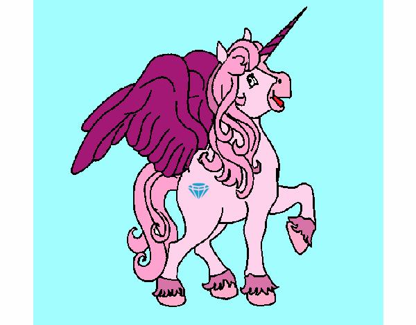Dibujo de caballo volador para pintar pintado por en Dibujosnet