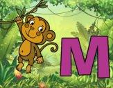 Dibujo M de Mono pintado por queyla
