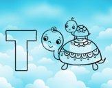 Dibujo T de Tortuga pintado por queyla