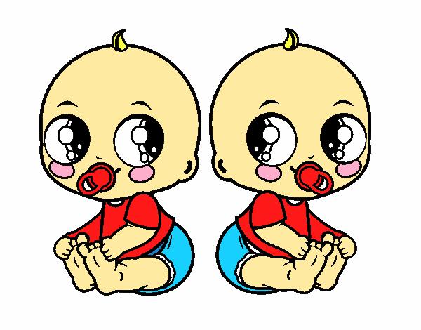 Dibujo De Cara De Niño Pequeño Para Colorear: Dibujo De Bebés Gemelos Pintado Por En Dibujos.net El