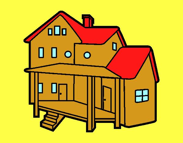 Dibujo de casa con porche pintado por ojodehorus en - Porche para colorear ...