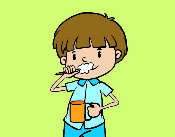 Dibujo de Cepillarse los dientes pintado por Queyla en Dibujosnet
