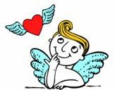Cupido y corazón con alas