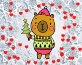 Dibujo Oso navideño pintado por nalia