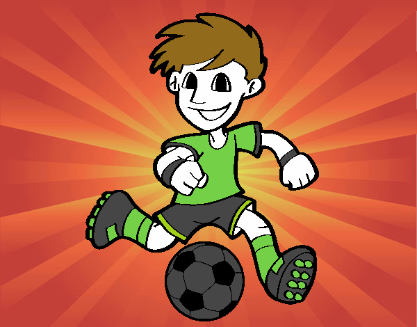 Dibujo De Jugador De Fútbol Con Balón Pintado Por En