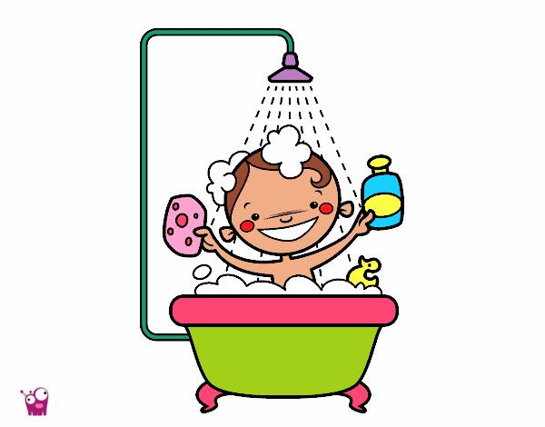 dibujo de ni o en la ducha pintado por martuuca en dibujos