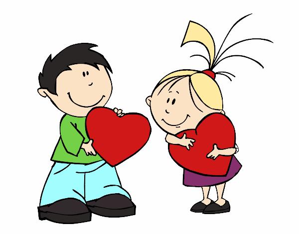 San Valentin Dibujos En Color: Dibujo De Niños En San Valentín Pintado Por Mikuo En