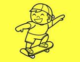 Niño con monopatín