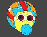 Tierra con máscara de gas