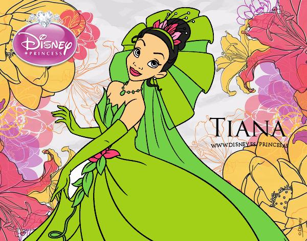 Dibujo De Tiana Y El Sapo Tiana Para Colorear: Tiana Y Su Vestido Pintado Por