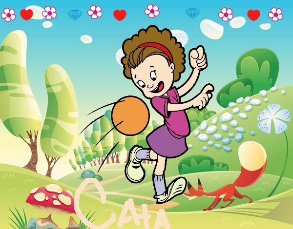 Dibujo De Jugador De Fútbol Con Balón Pintado Por Chicoxd: Dibujo De Niña Con Balón Pintado Por Amarz En Dibujos