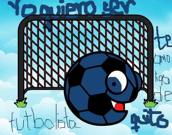 Dibujo De Jugador De Fútbol Con Balón Pintado Por En: Dibujo De Balón En La Portería Pintado Por Jaramill En