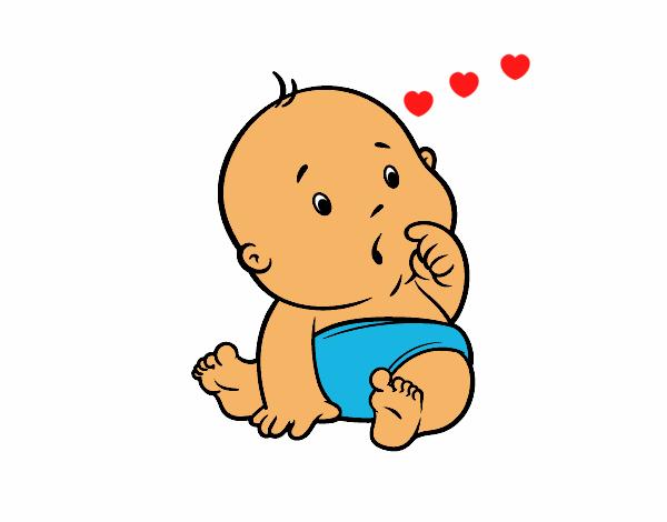 Dibujo de beb sorprendido pintado por en el - Dibujos pared bebe ...
