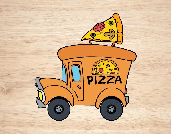 Dibujo de Food truck de pizza pintado por Superbea en Dibujosnet