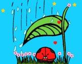 Dibujo Mariquita protegida de la lluvia pintado por LunaLunita