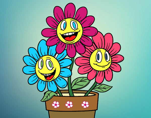 dibujo de maceta de flores pintado por plantas en dibujos el