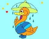 Dibujo Pato bajo la lluvia pintado por LunaLunita